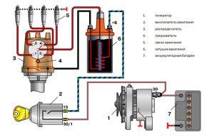 Контактная система зажигания схема