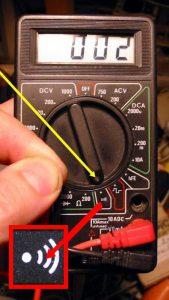 Мультиметр в режиме прозвона