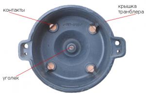 Схема расположения элементов крышки трамблера