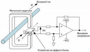 Схема датчика тока на основе датчика холла