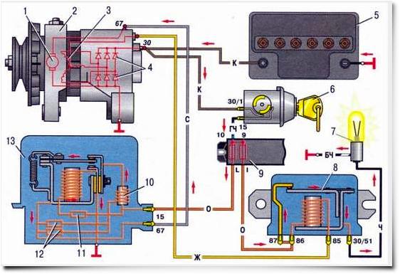 Схема подключения генератора на ВАЗ