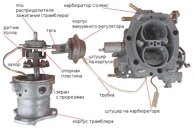 Регулятор вакуумный распределителя зажигания и схема его соединения