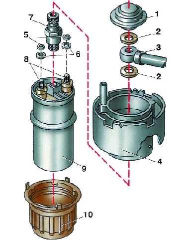 Схема топливного насоса автомобиля Ауди
