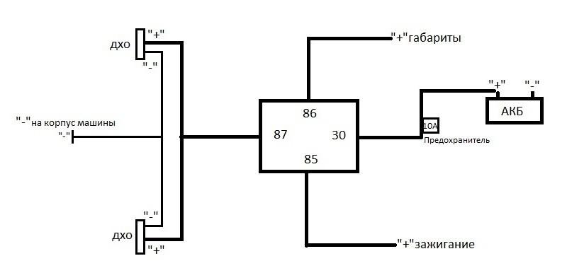 dxo 1 - Схема включения ходовых огней